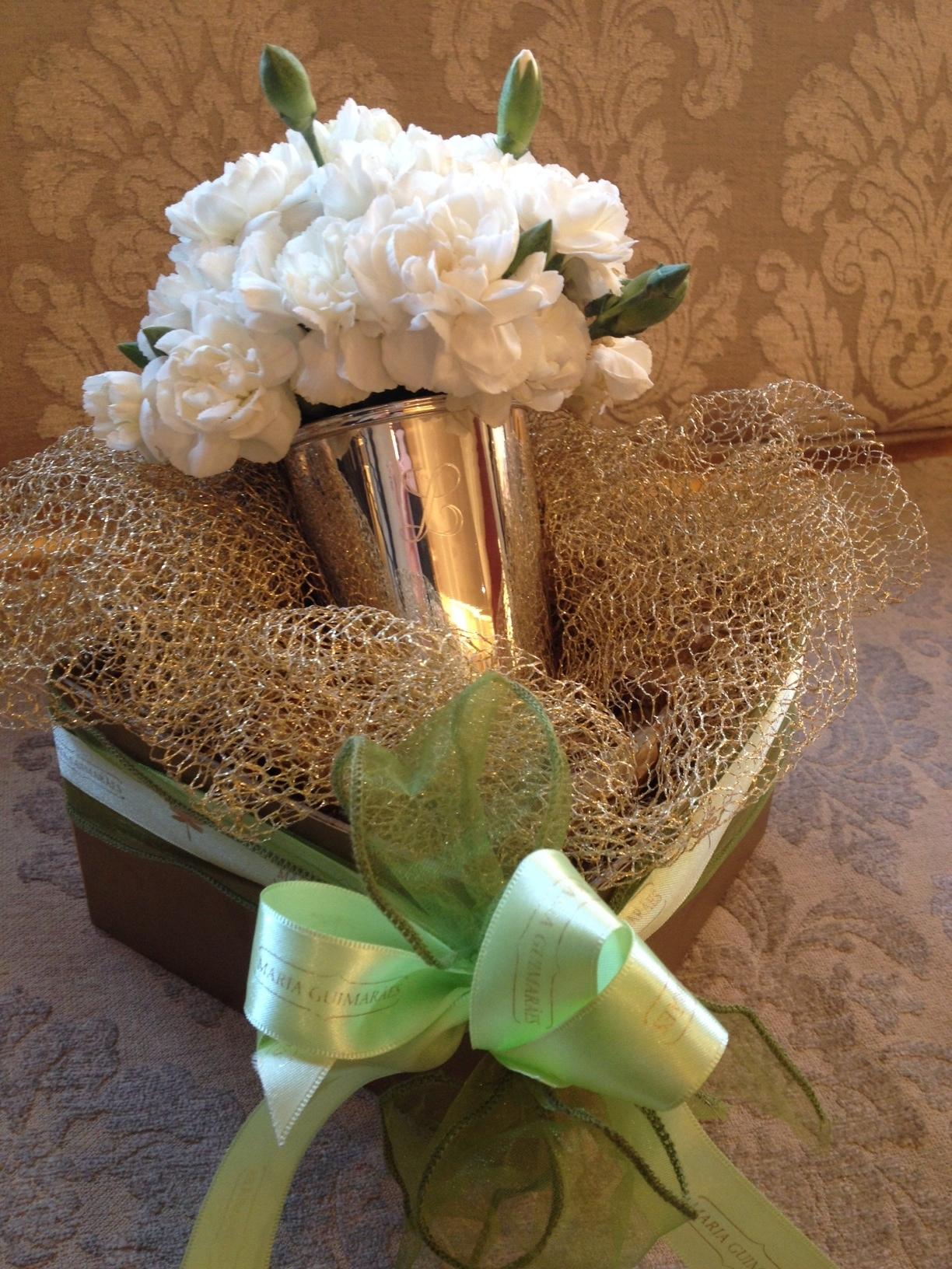 Copo de Prata com Gravação e Flor