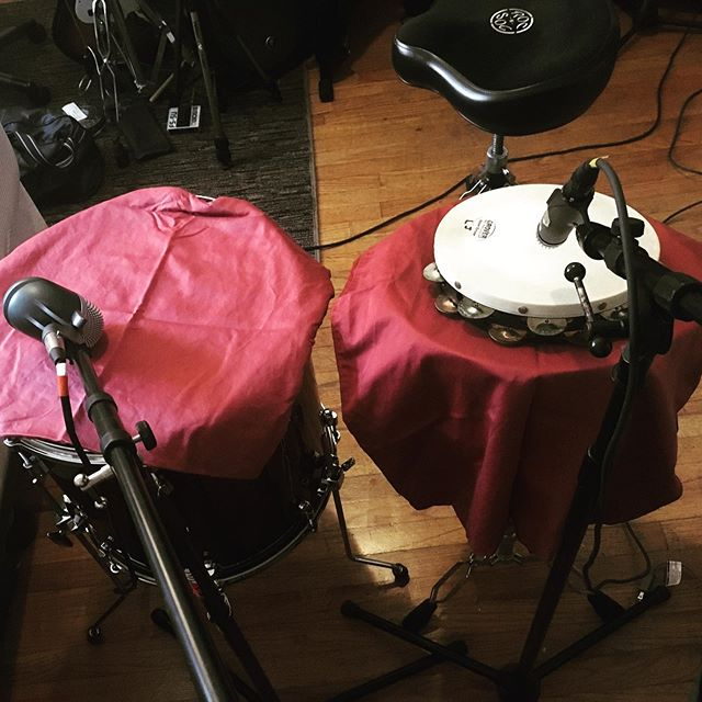 Recording drums in a NYC apartment. #pillowcase