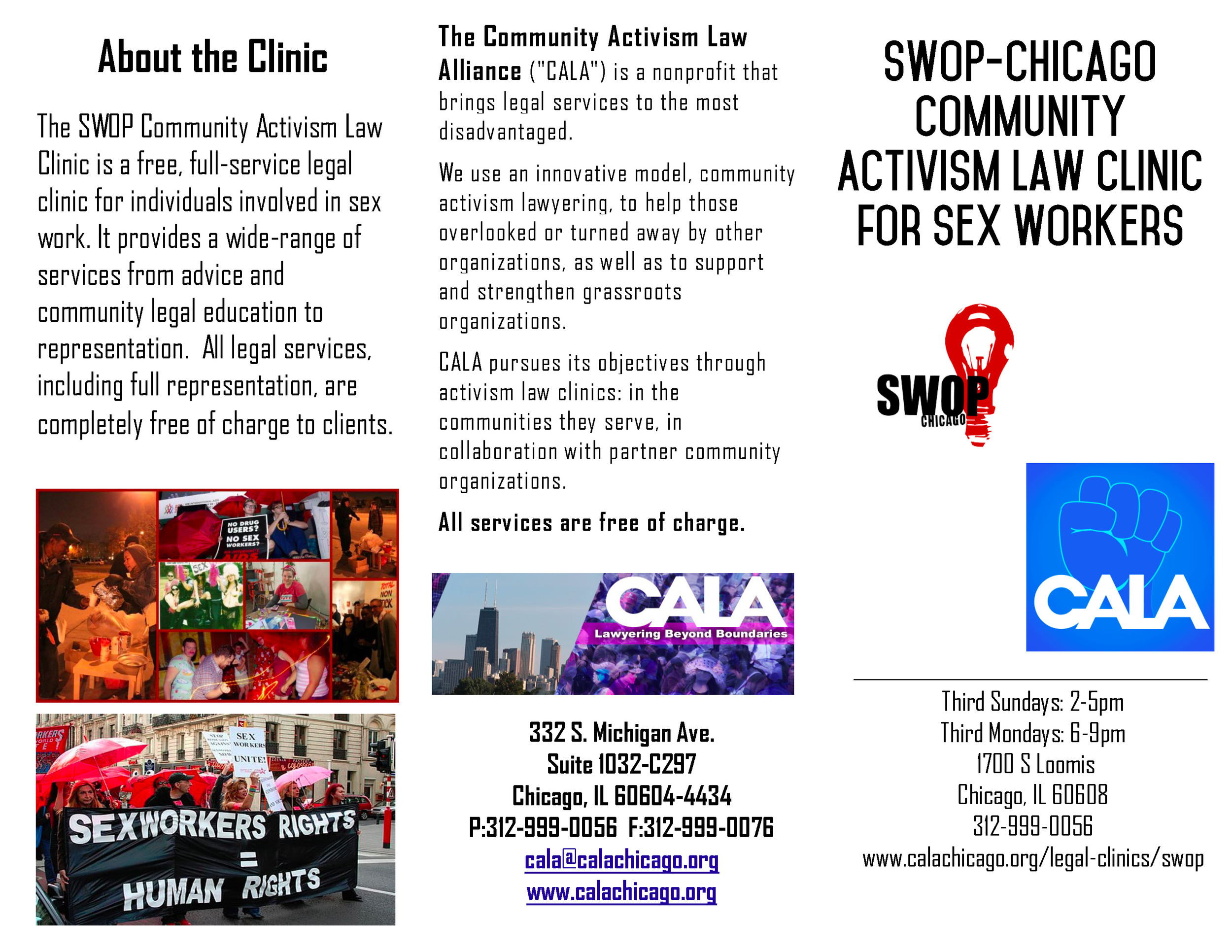 Initial Flyer (front page) for the SWOP Community Activism Law Clinic