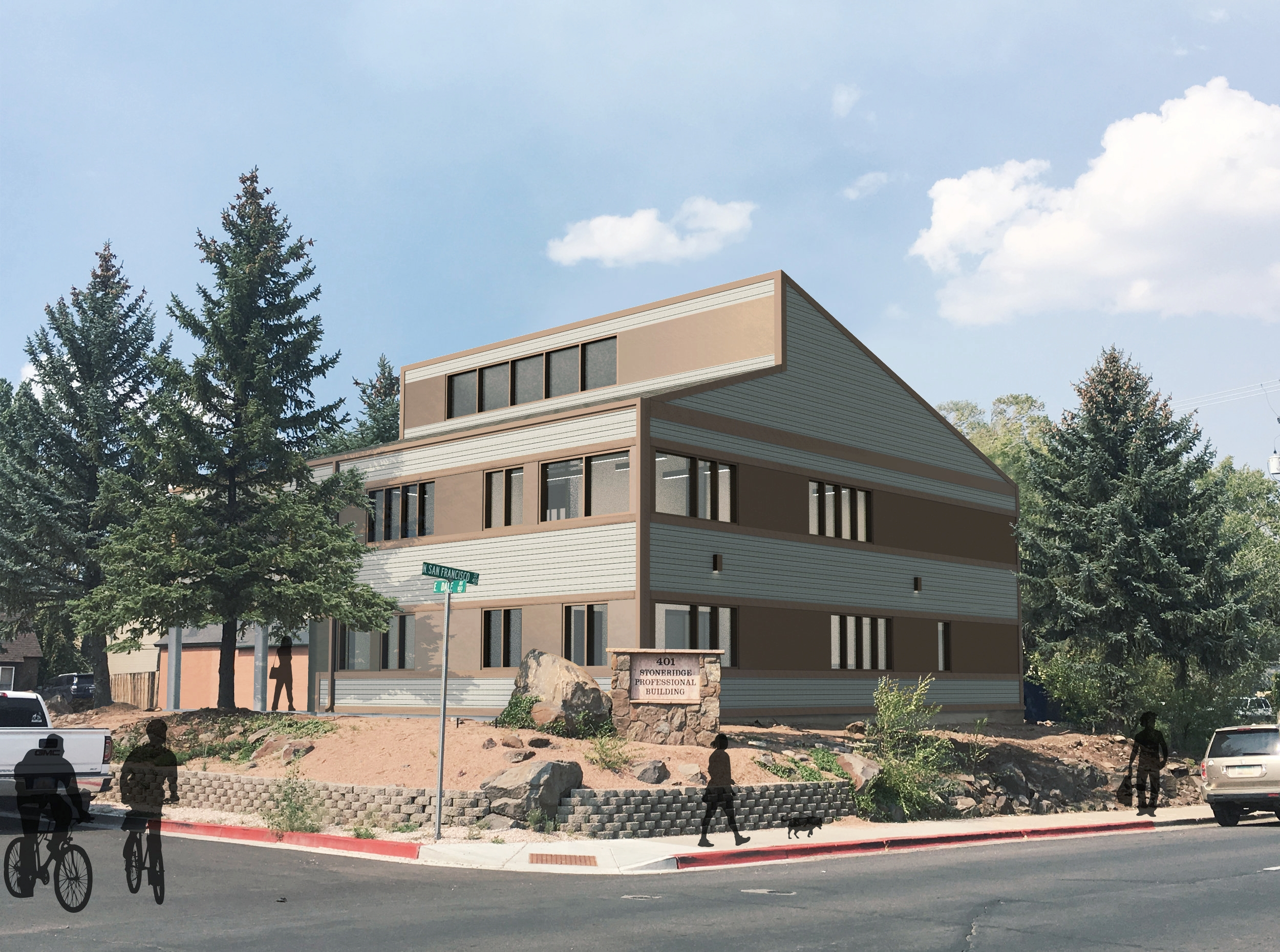 Rendering of the remodeled building as viewed from the south-east. Rendering by Erin O'Loughlin, Heise Design Studio.