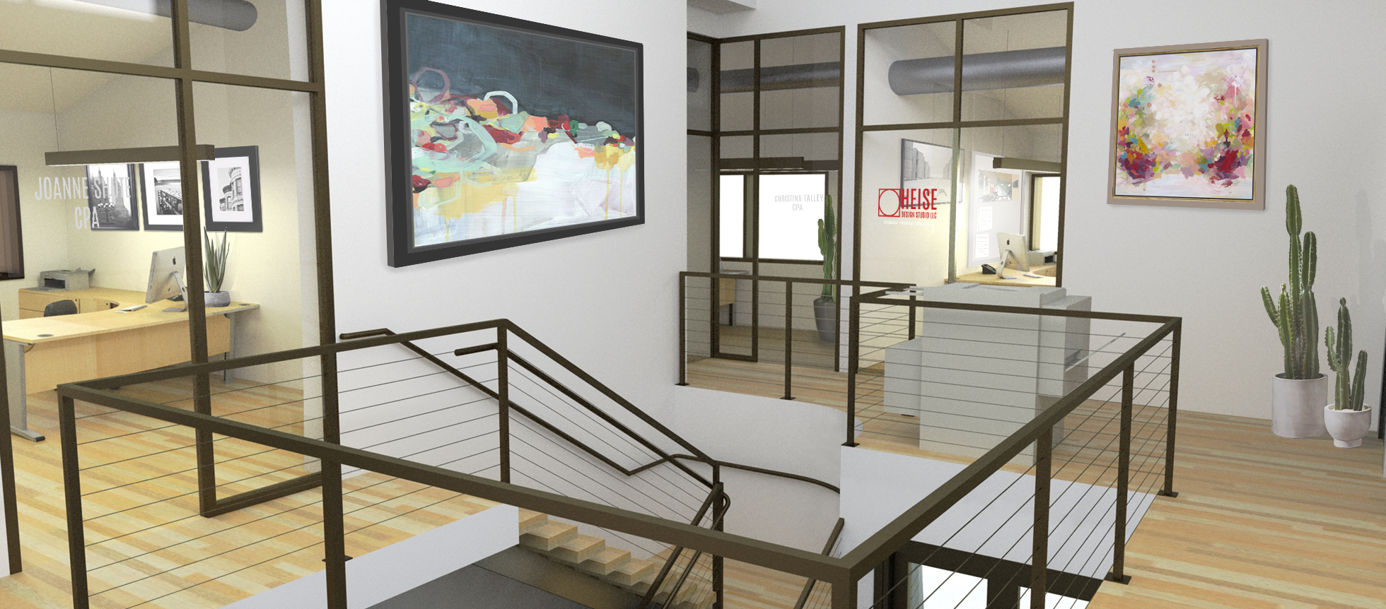 A rendered view at the second floor across the open stair well. Glass portions in each suite and the newly vaulted ceilings increase the openness and light of the interior spaces. Rendering by Erin O'Loughlin, Heise Design Studio.