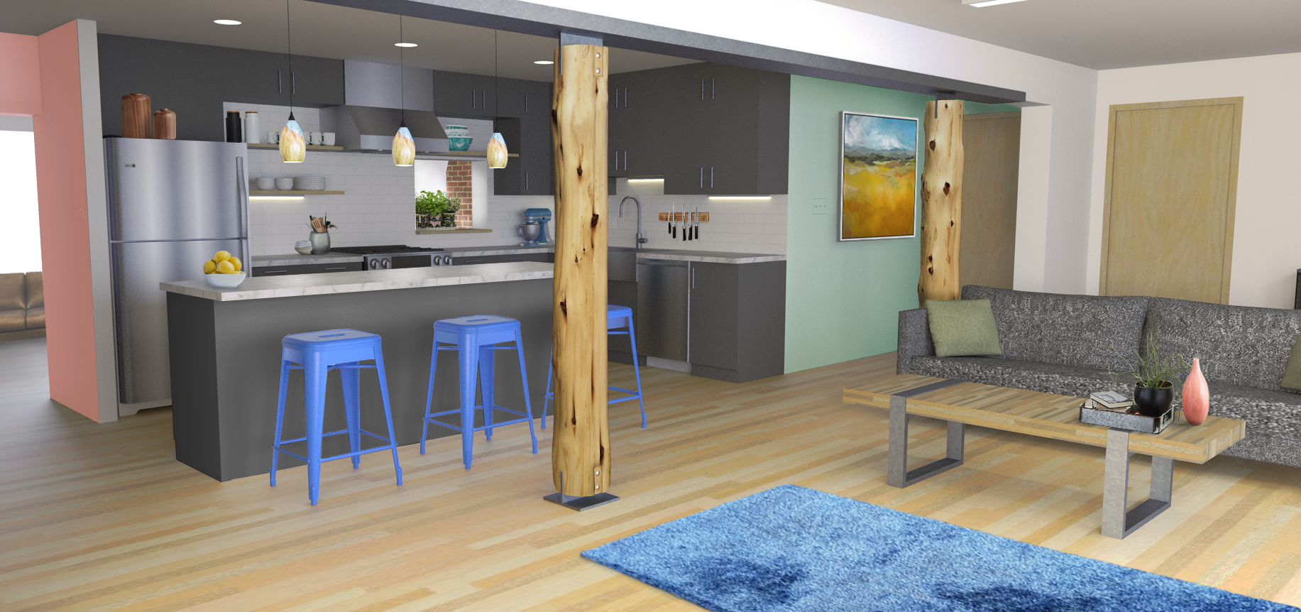 A rendering of the finished kitchen and living room. Rendering by Erin O'Loughlin, Heise Design Studio.