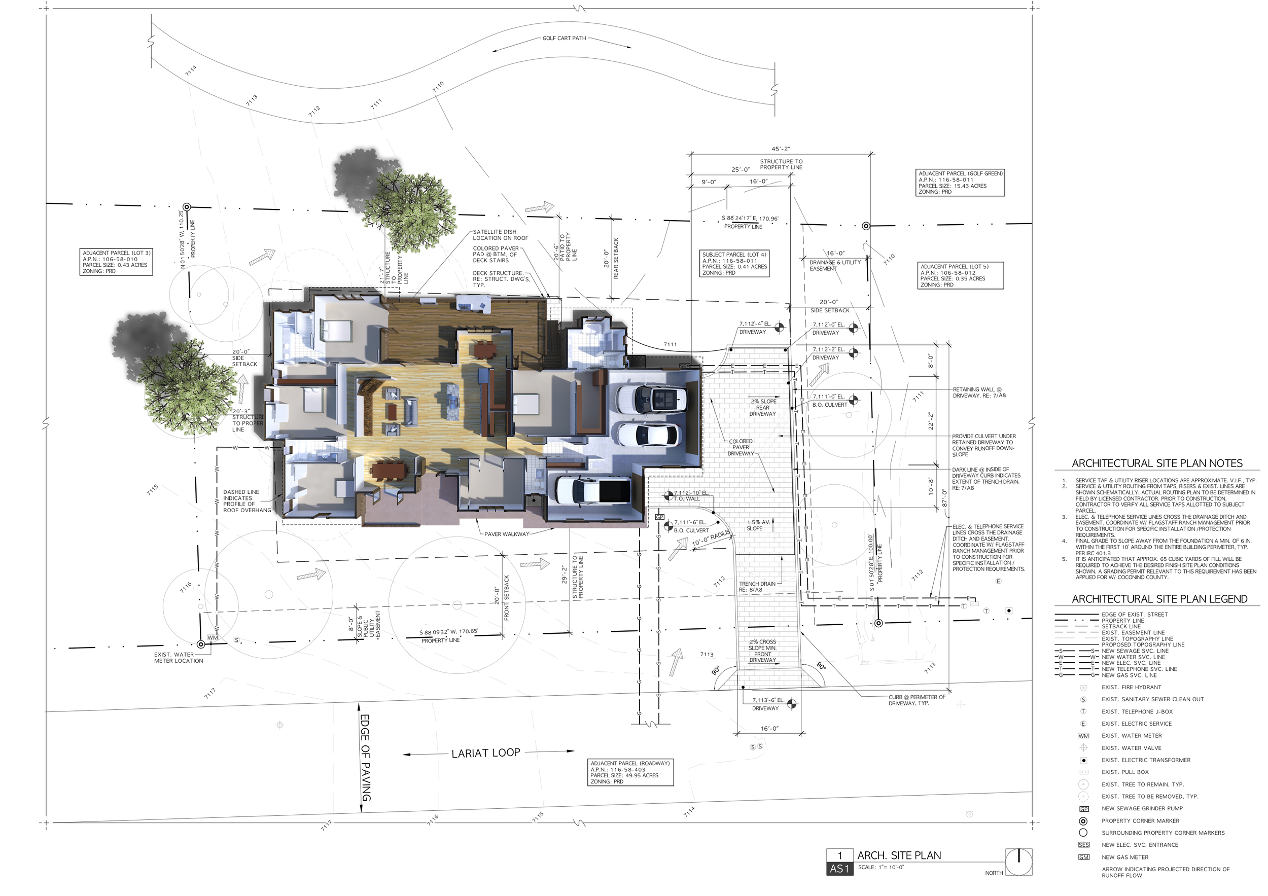 The extruded floor plan superimposed on the project site plan.