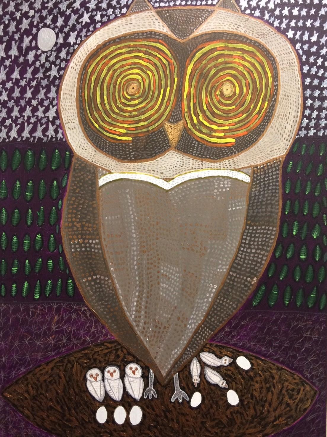 Owl watching Geyser going off.