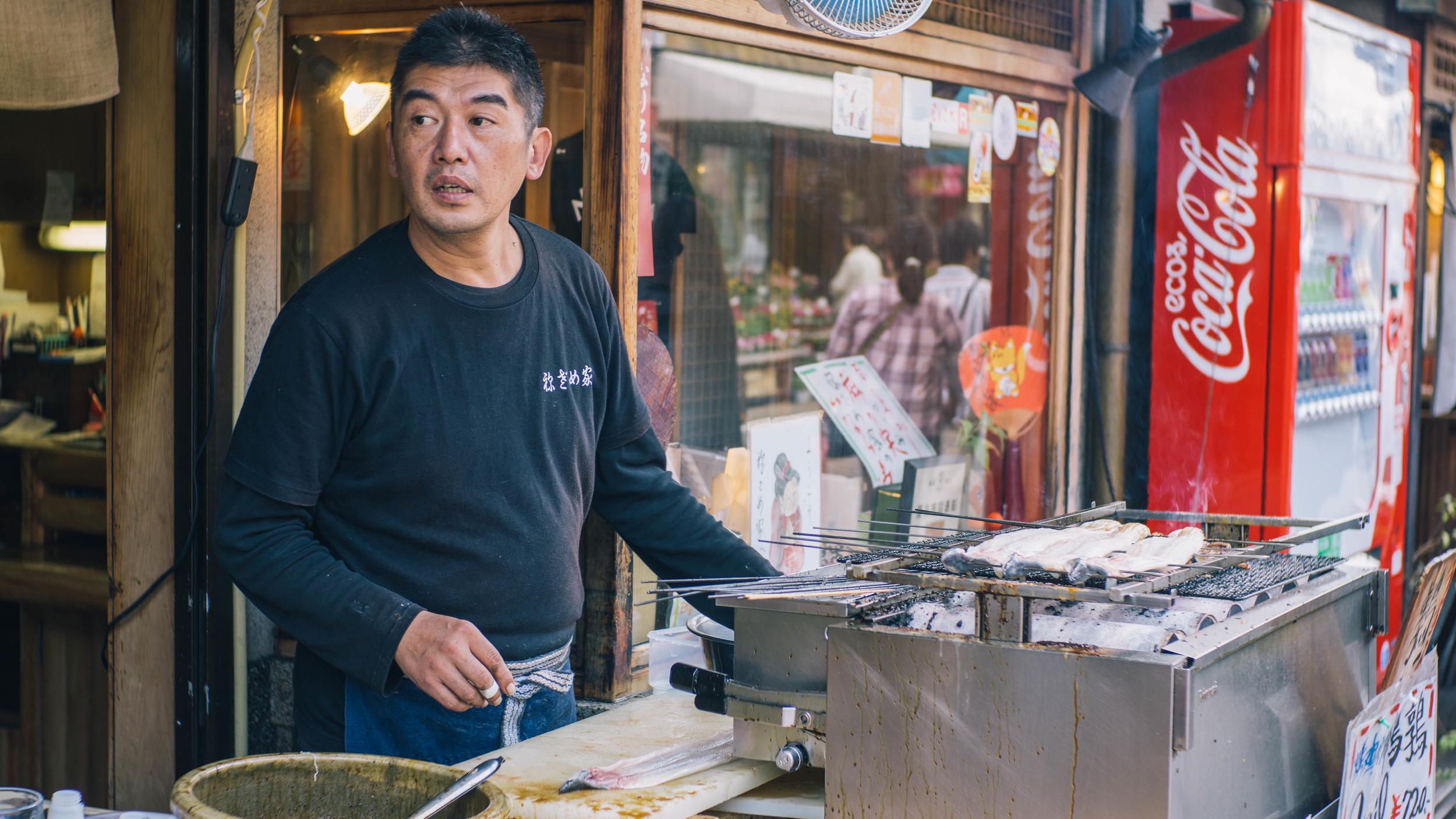 At the entrance to Fushimi Inari-taisha. Grilled unagi (and other street vendors) everywhere!