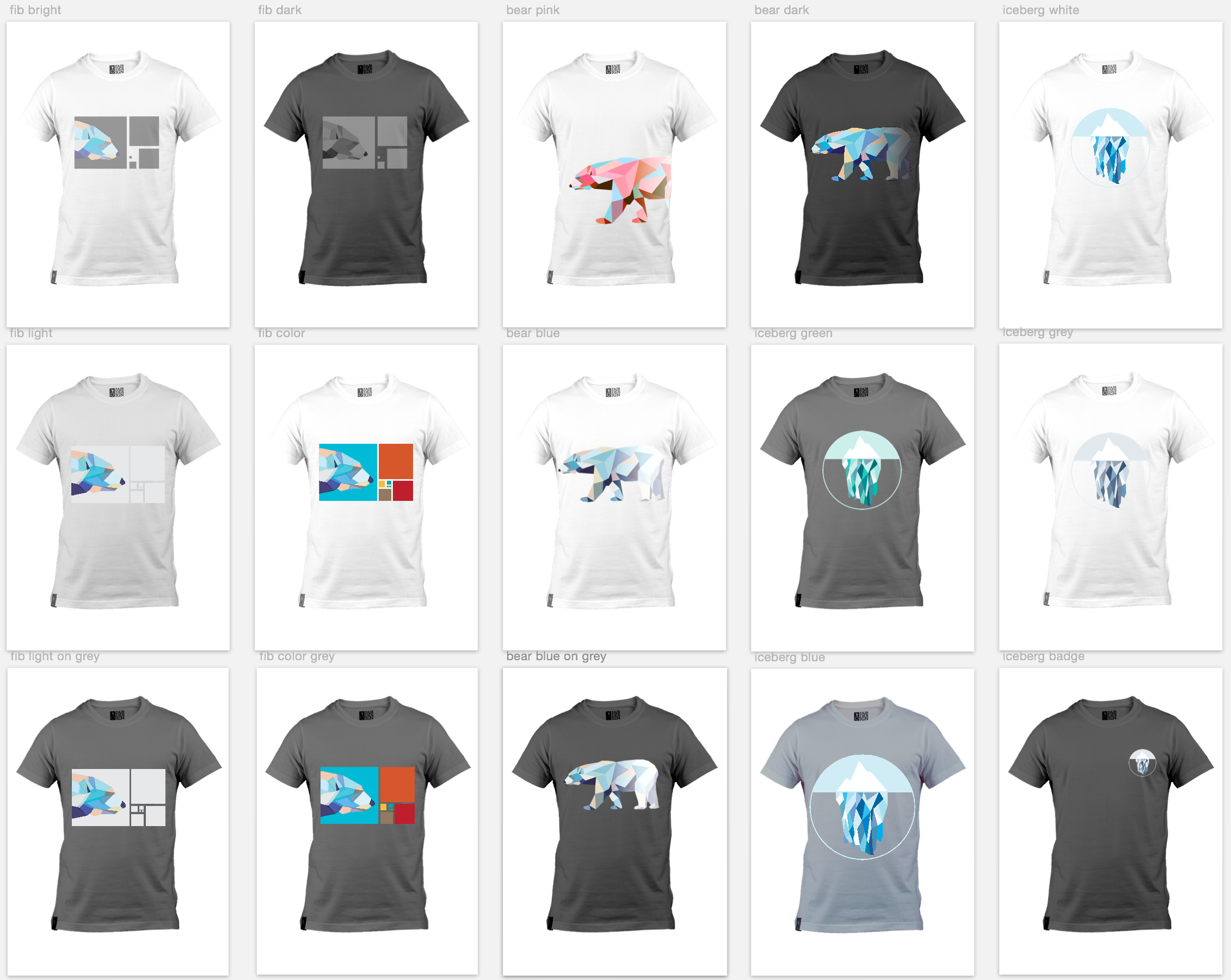 Various graphic designs for t-shirts and other company swag