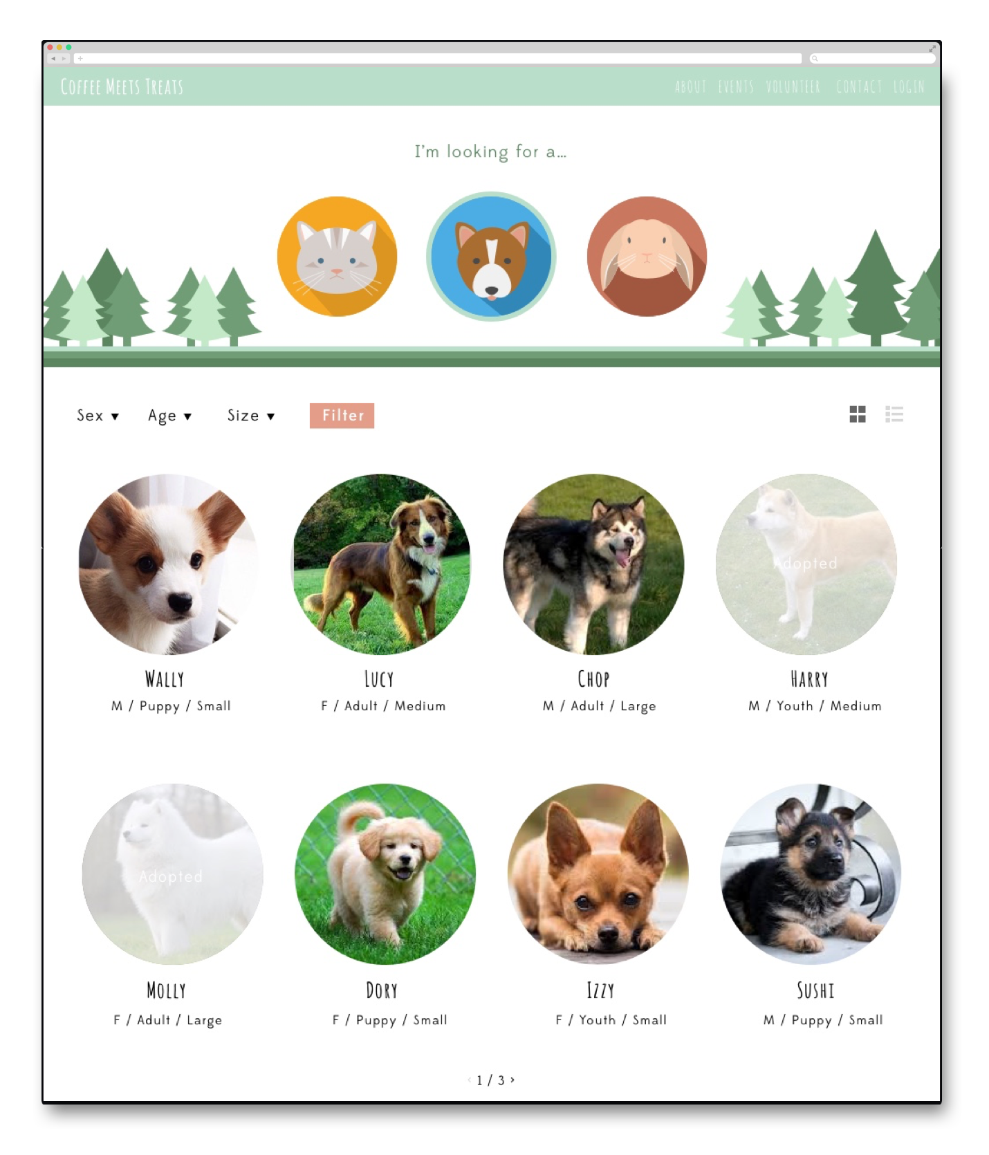 When you click on a specific type of animal, you'll see a sorted list of that type of animal with pertinent info about them.