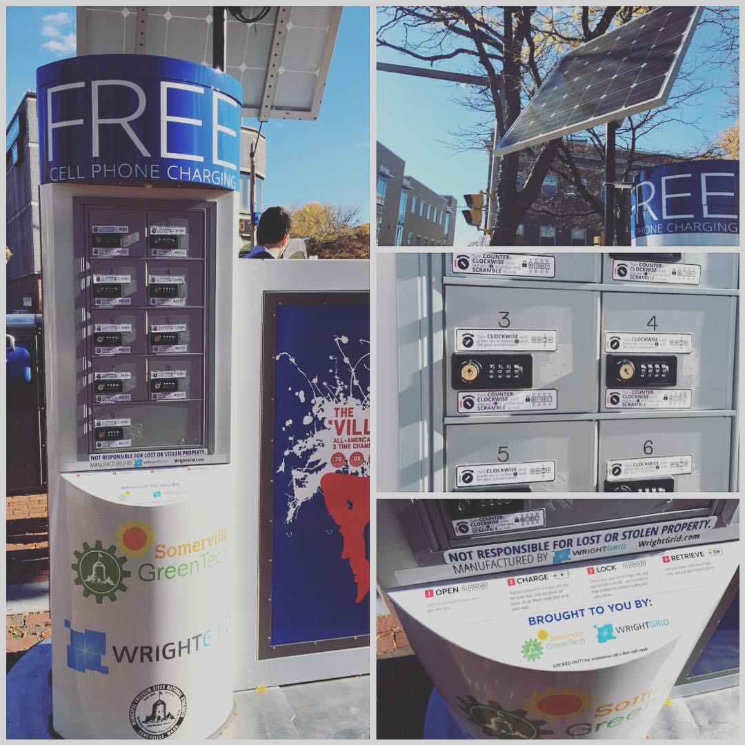 Great idea. Free solar charging station (at Davis Square)