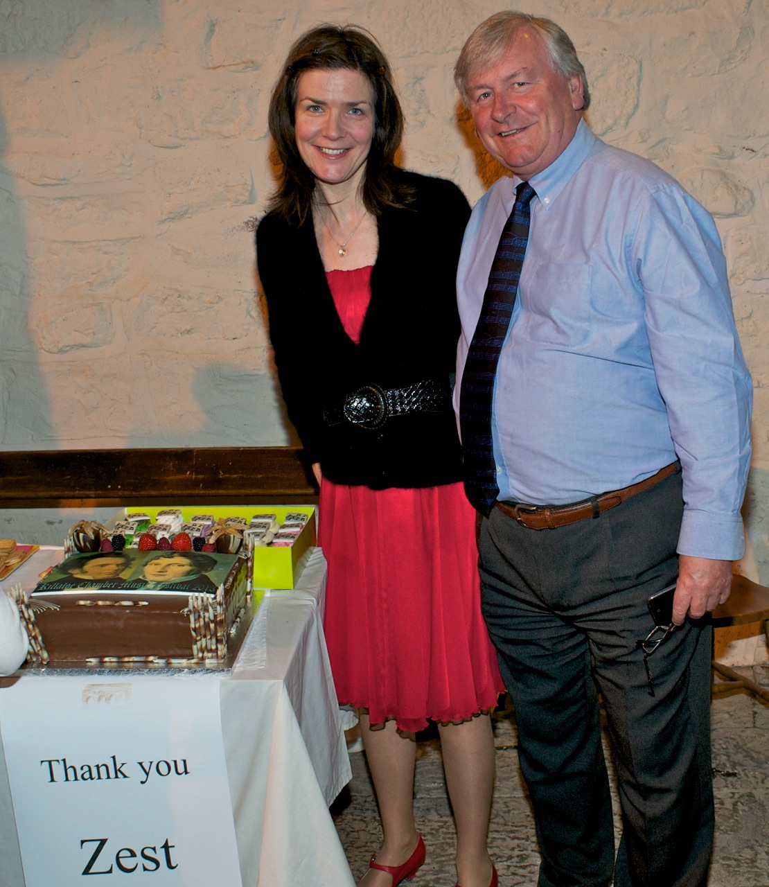 Diane Daly and John Horgan with Cakes donated by Zest