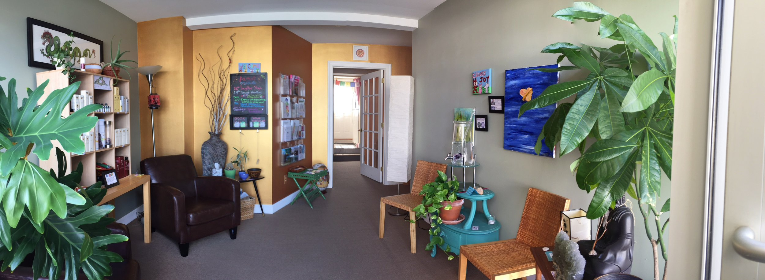 Super wide angle shot of the Village Wellness waiting room
