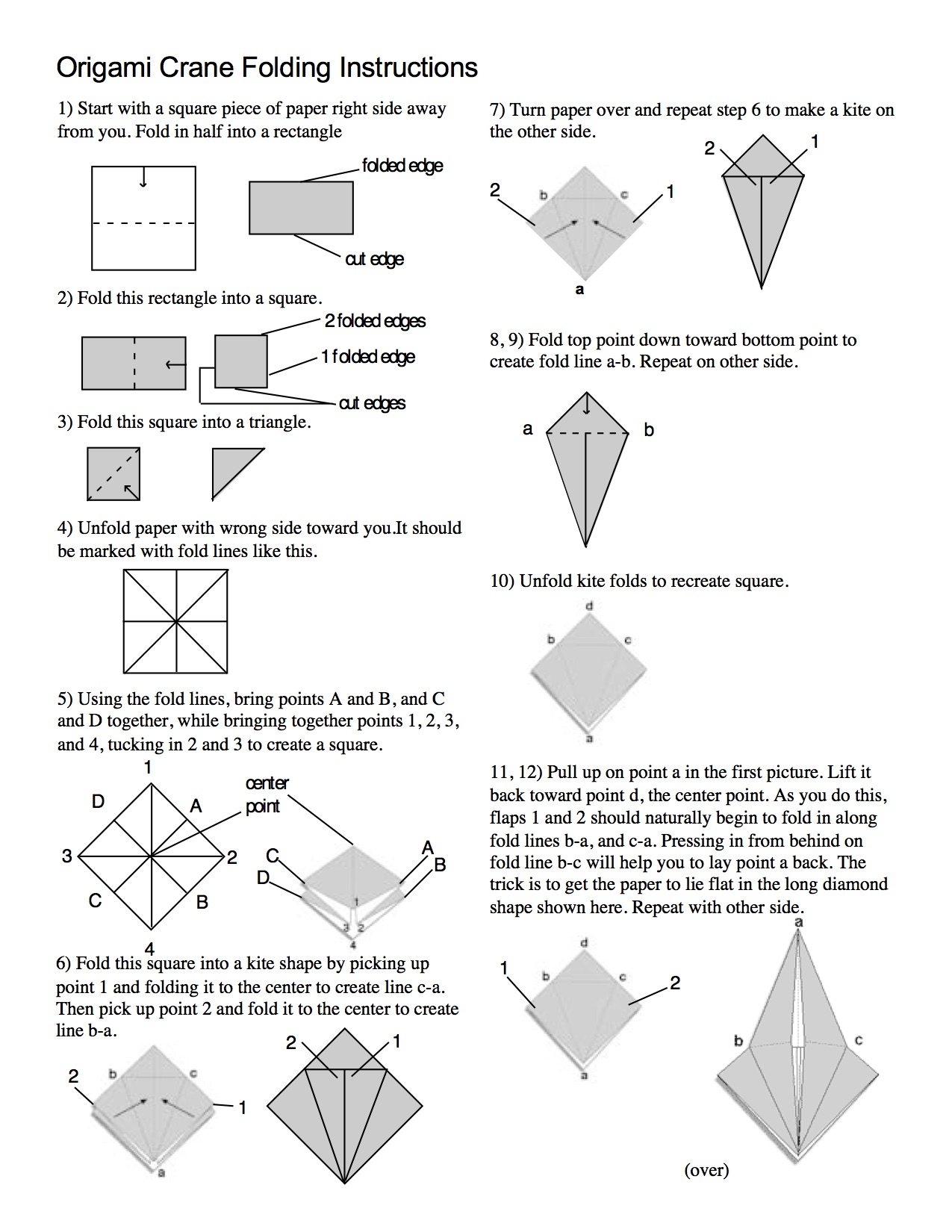 Origami crane steps diagram instructions paperfolding paper art ... | 1294x1000