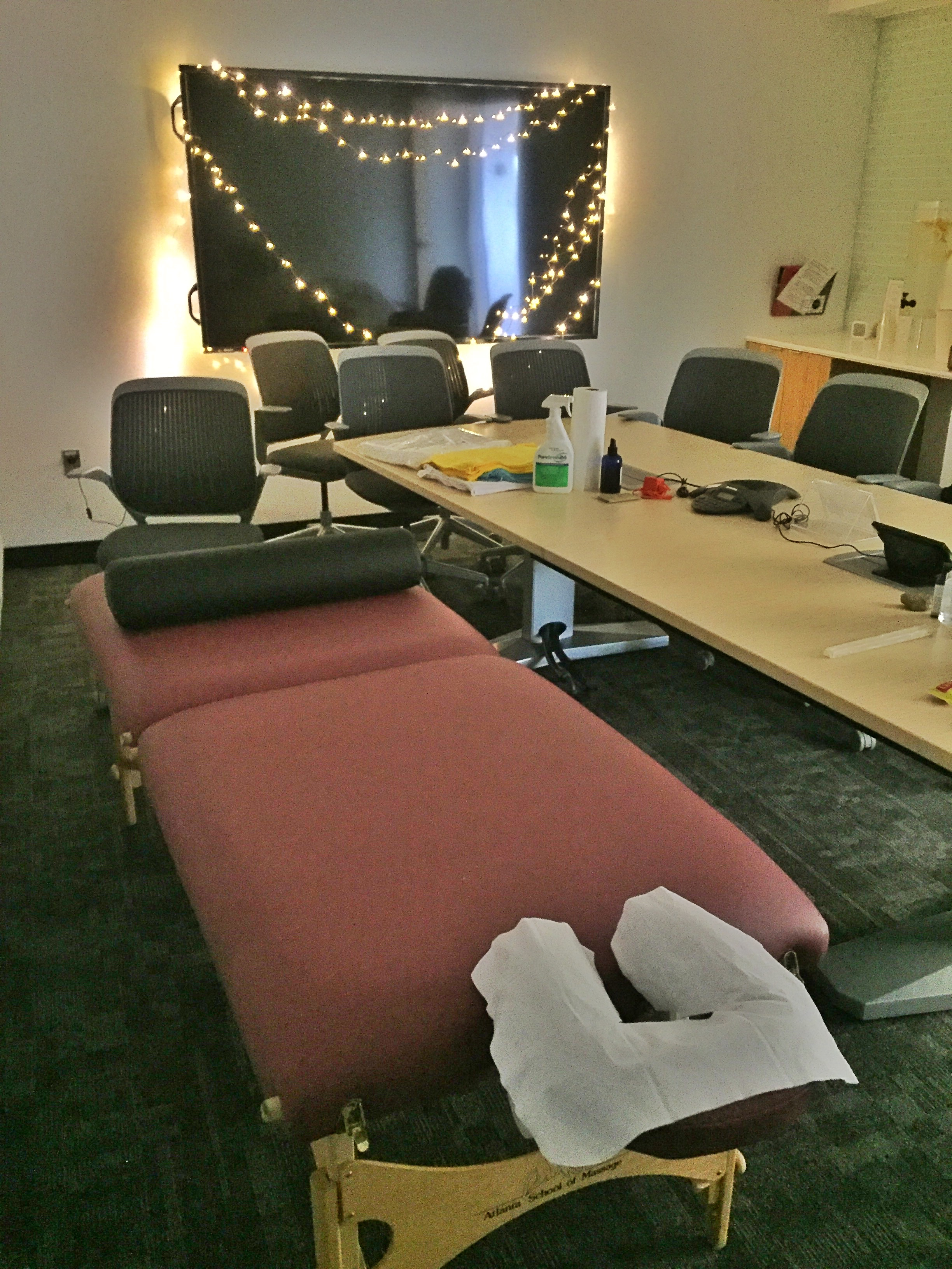 Conference Room transformed into a Reiki Healing Room at J&J