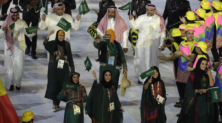 The Saudi Arabian team entering the stadium at the opening ceremony of the Olympic Games in Rio this summer.
