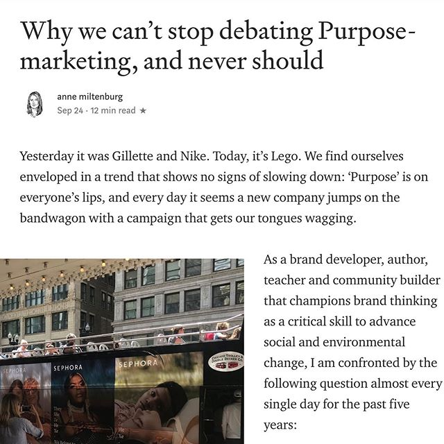 "New piece on purpose marketing now out on Medium. Anne weighs in on the purpose-marketing: good or bad development debate. ""Certainly, no one can refute that the N.R.A. (the American National Rifle Association) is a purpose-driven brand with some pretty strong purpose-marketing campaigns, yet I've never seen anyone use them as an example that extols the merits of the trend."" #brandthechange #branding #purpose #purposemarketing #purposewashing #wokewashing #greenwashing #brand"
