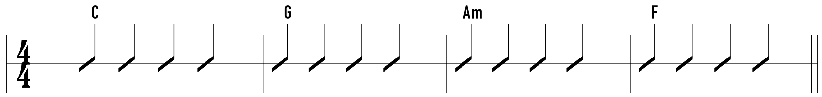 The basic chord progression throughout the song