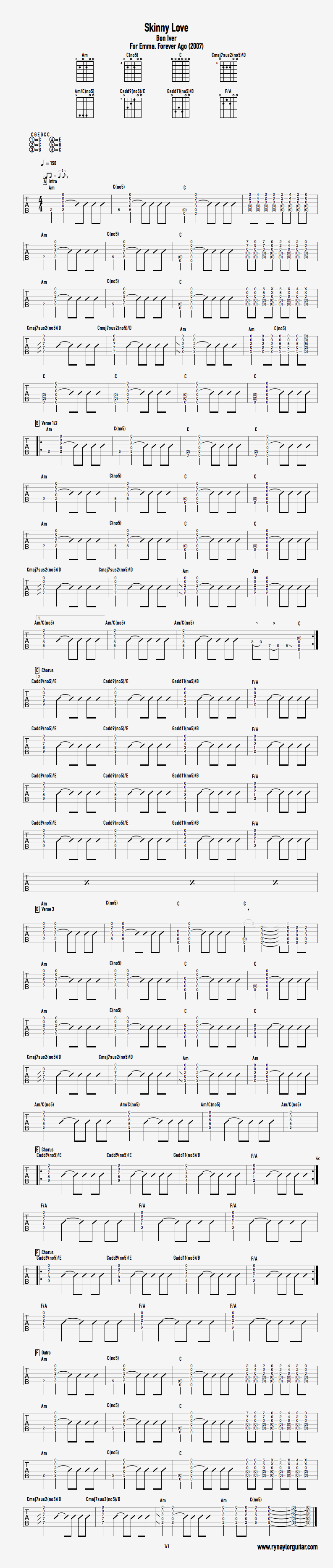 Skinny Love — Grow as a guitarist with neat guitar theory graphics ...