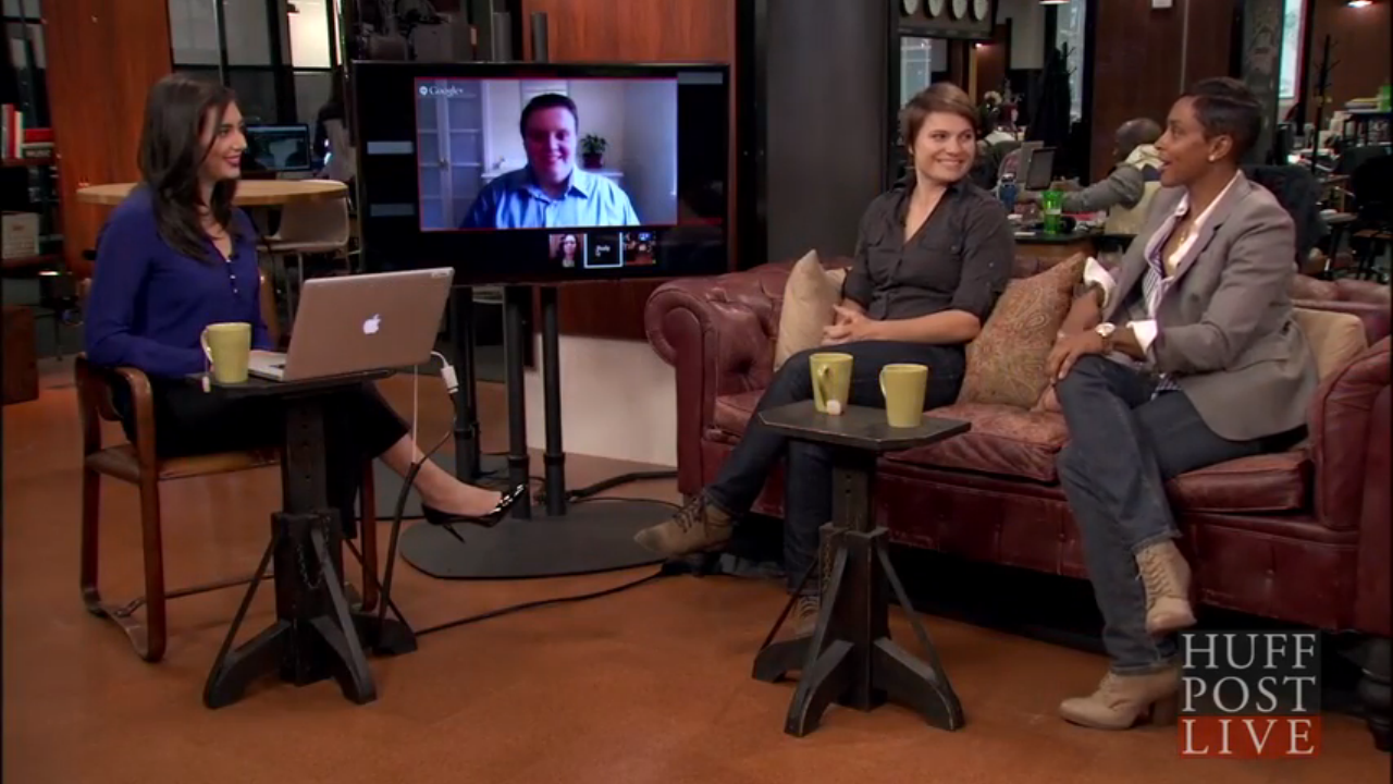 During the Hard Hatted Woman Kickstarter campaign in October 2014, filmmaker Lorien Barlow (middle) and ironworker/cast member Ambra Melendez (right) were invited to HuffPostLive for a 30-minute segment to discuss the mission of the film and the challenges and rewards of being a woman in construction.