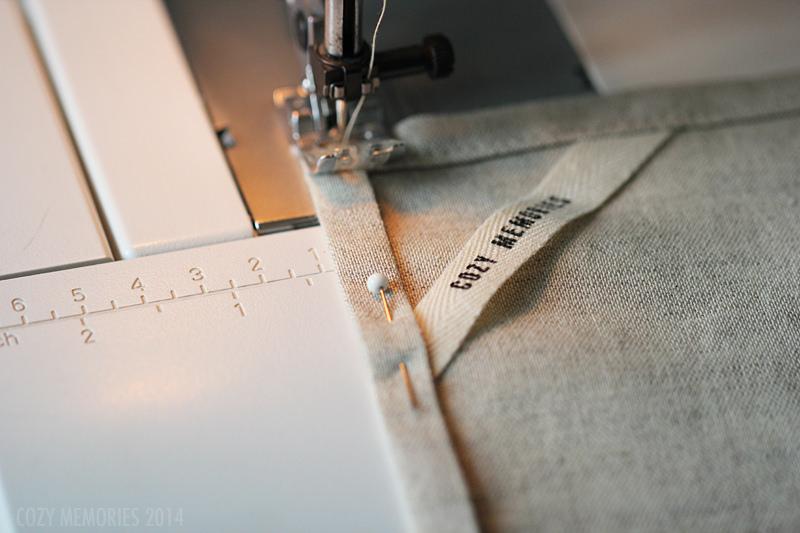 Machine sewing the tea towels