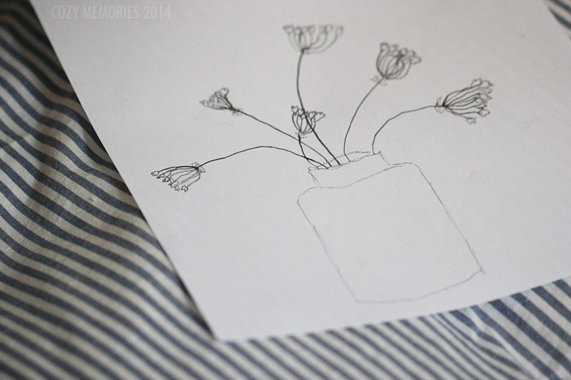 drawing of the last wild garlic flowers