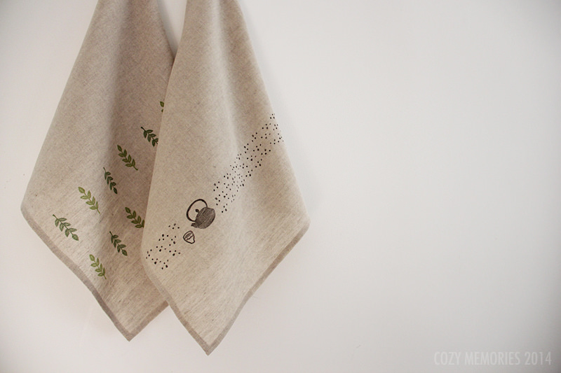 cotton/linen blend, hand stamped tea towels