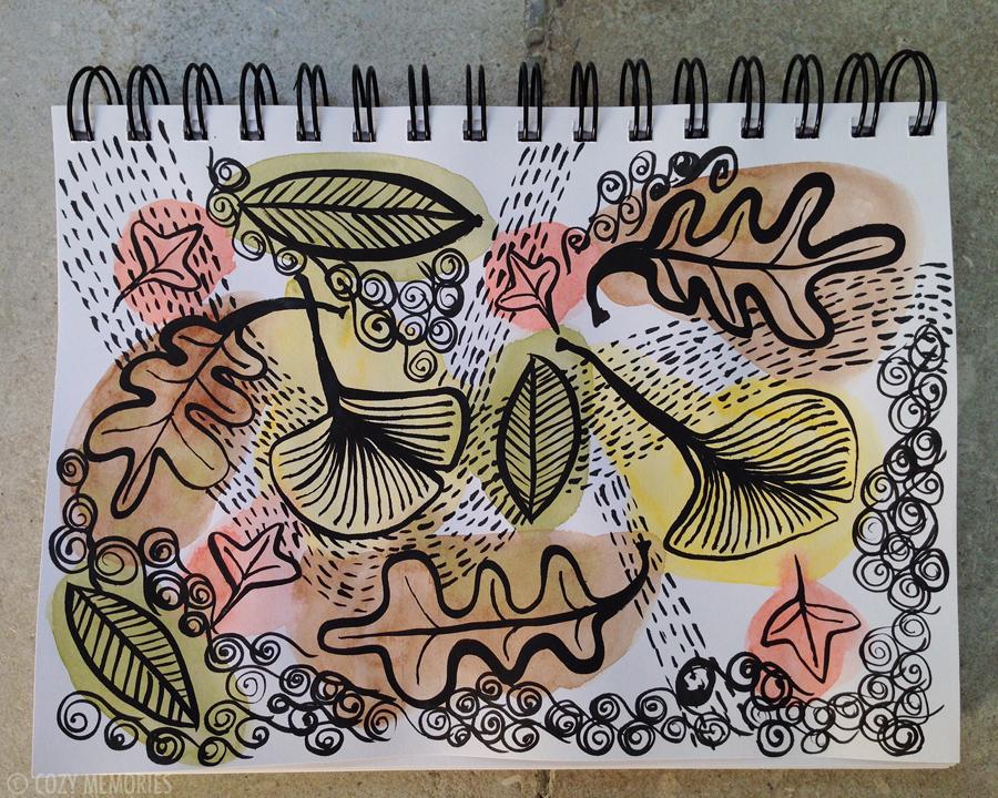 Watercolors and brush pen