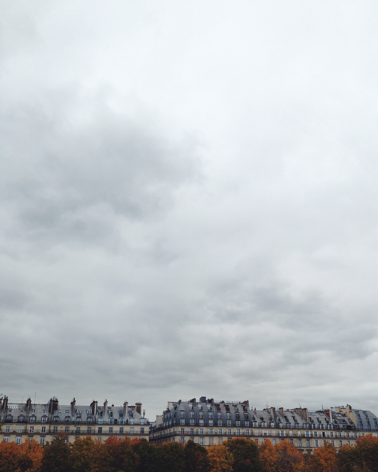 Buildings on Rue de Rivoli, seen from the Jardins des Tuileries