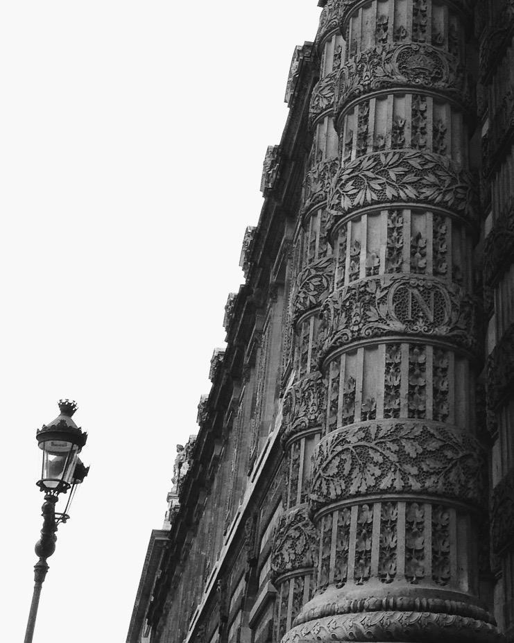 Beautiful column on Le Louvre museum (rue de Rivoli)