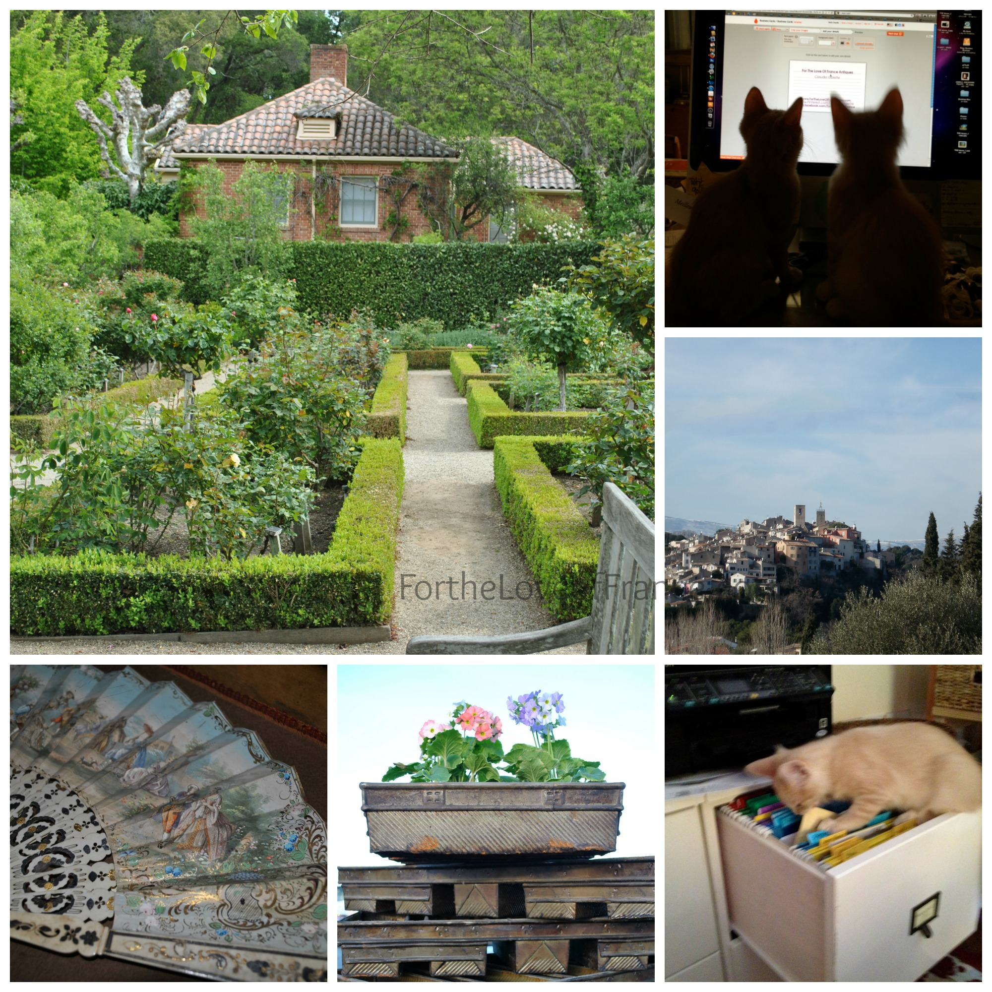 Collage of Georgian Brick Garden Home | Antique French Fan | Two Kittens, the Assistants | Vintage French Commercial Bread Pans | Lourmarin France