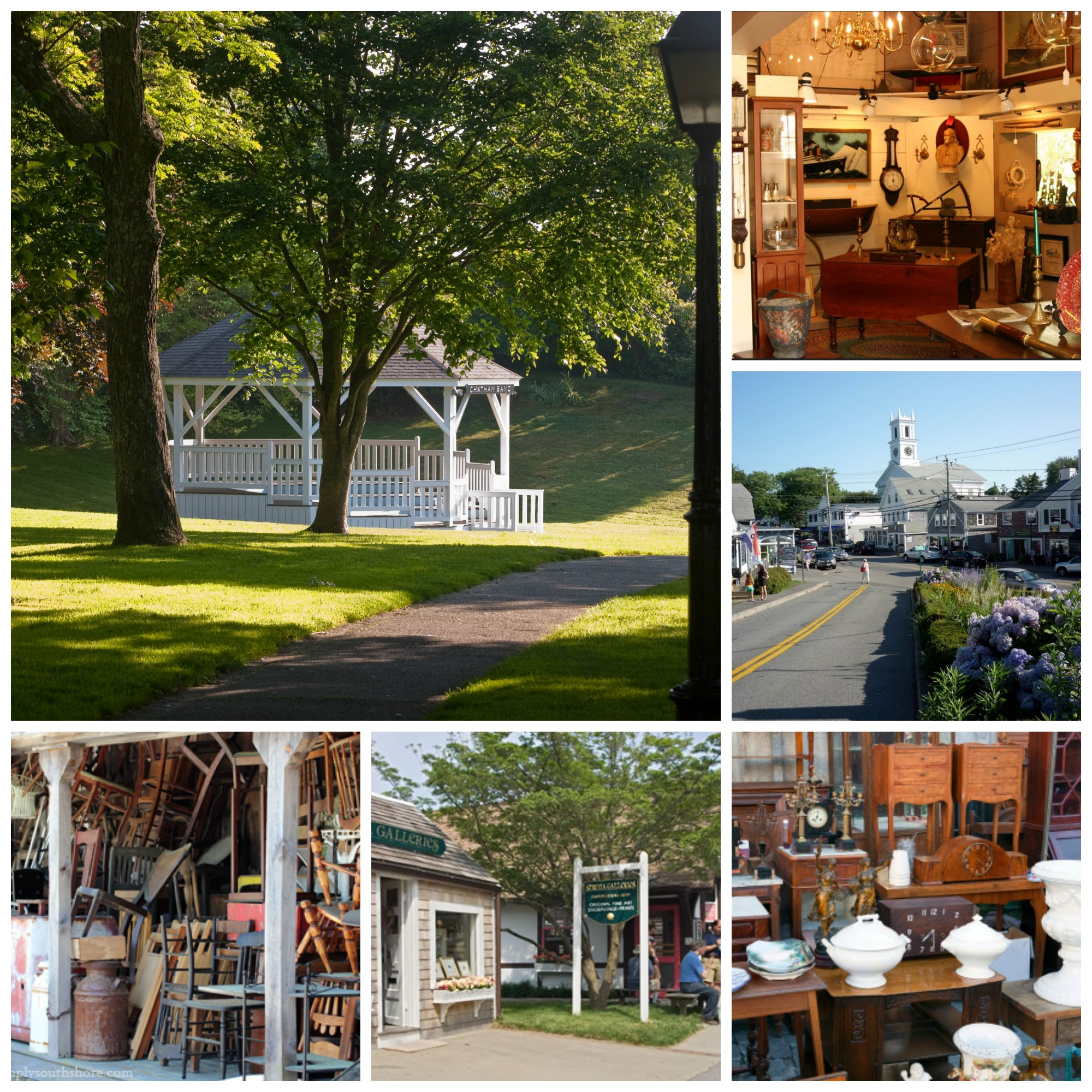 Town square gazebo and antique shops in Chatham, MA.