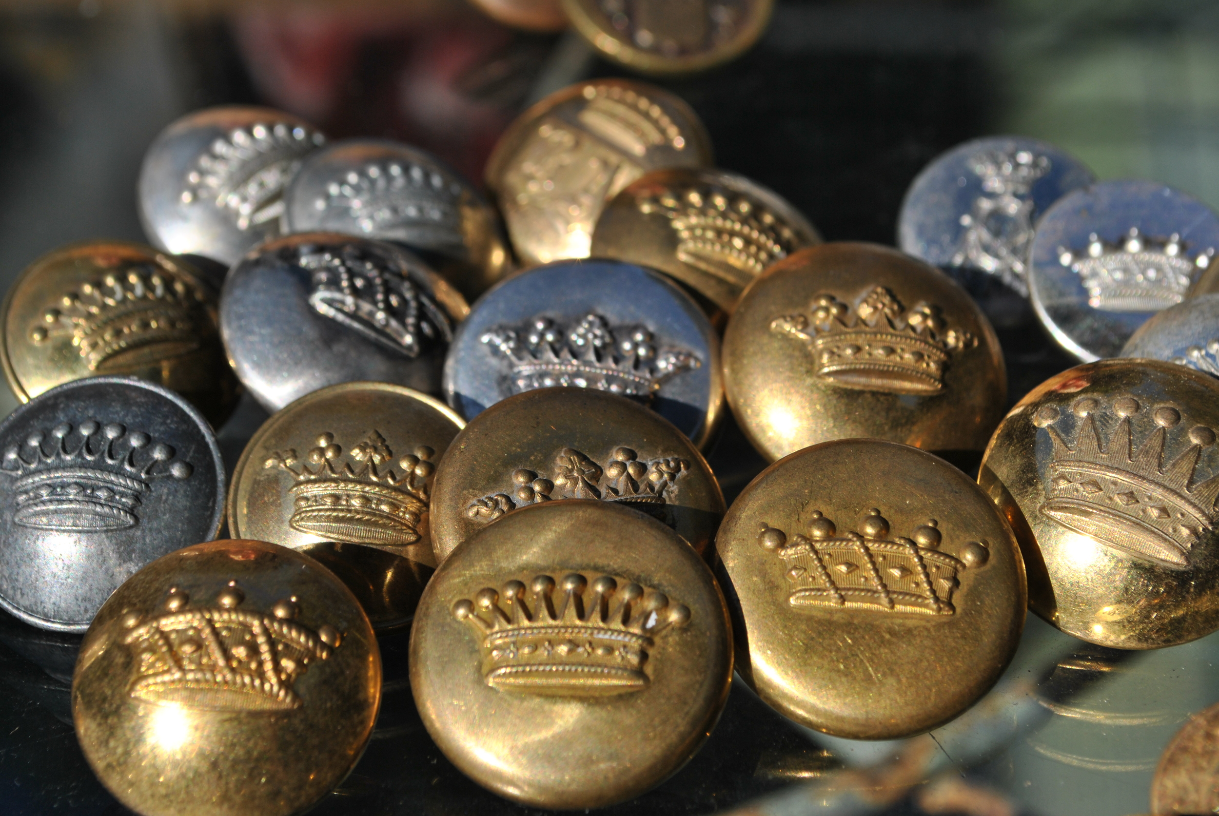 Antique French Crown Buttons