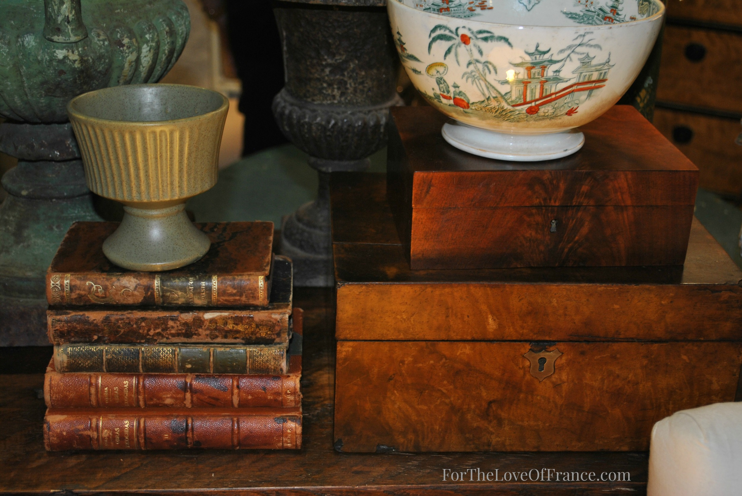 Antique Books & Boxes Vignette