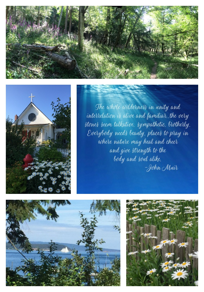 Collage of Orcas Island WA and John Muir Quote
