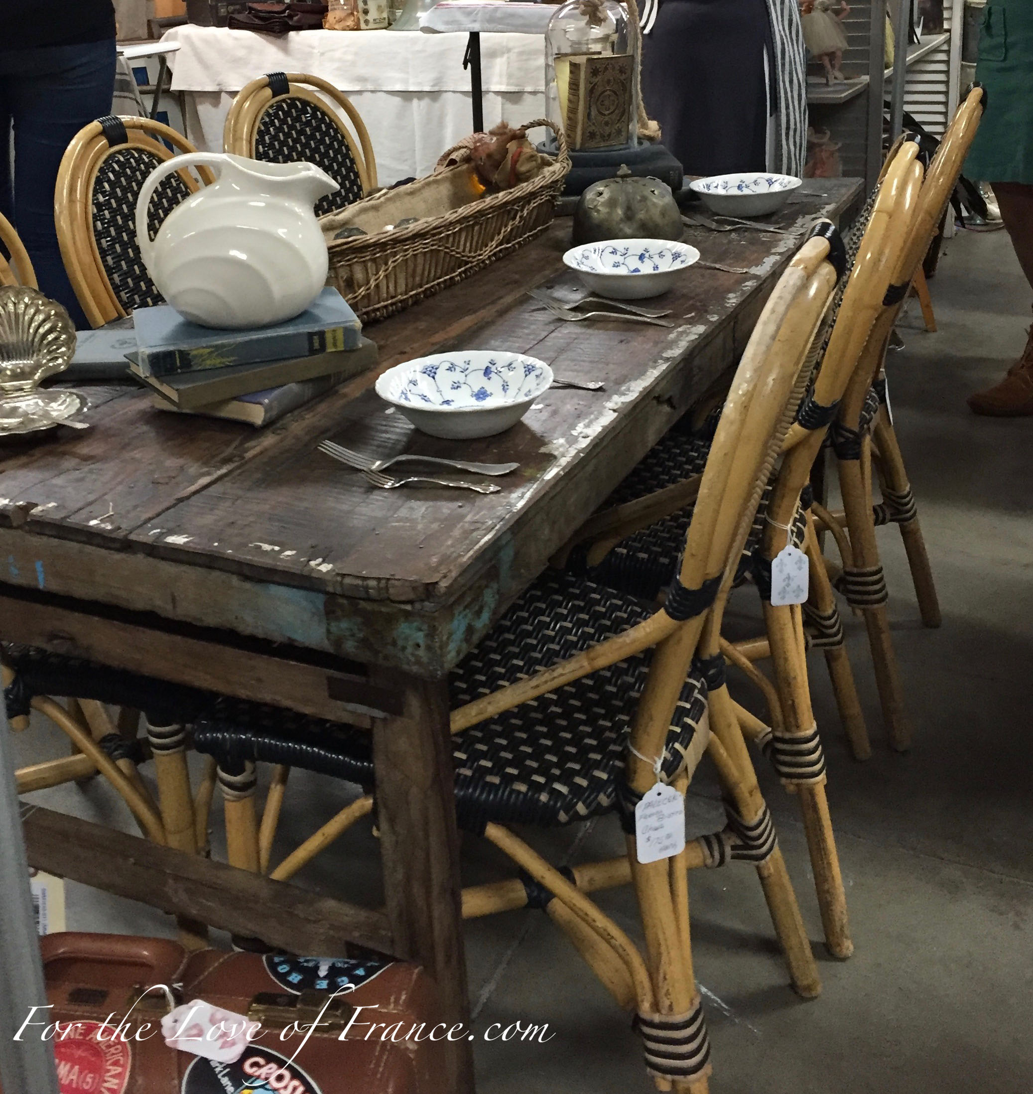 Vintage French bistro chairs and fall table decor