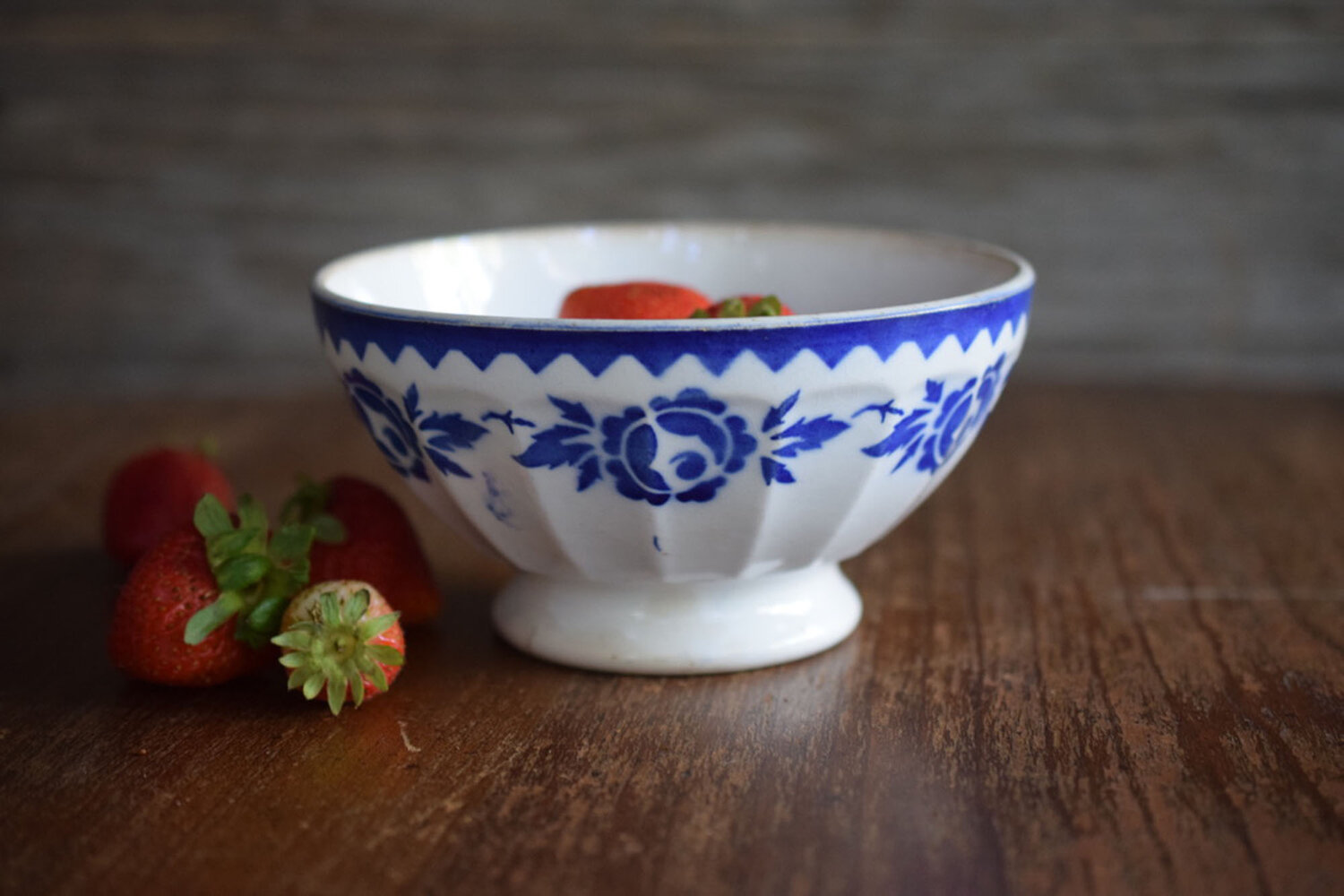 French vintage red and blue polka dot bowls French vintage coffee bowls Chauvigny porcelain cafe au lait bowls French country kitchen
