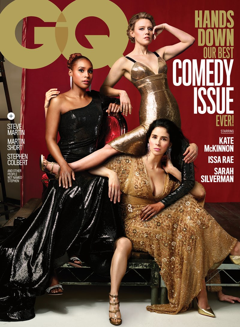Issa Rae wearing JOVANI on the cover of GQ Magazine's June 2018 Comedy Issue