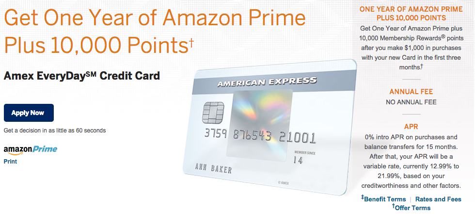 Amazon Prime Offer with Amex Everyday Cards — Mad About Miles