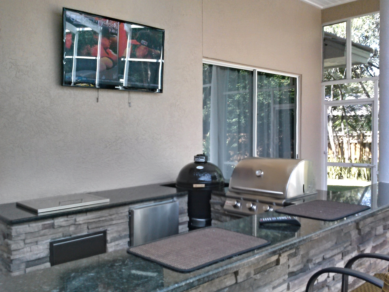 Clark Outdoor Kitchen & Water Feature - Over the bar