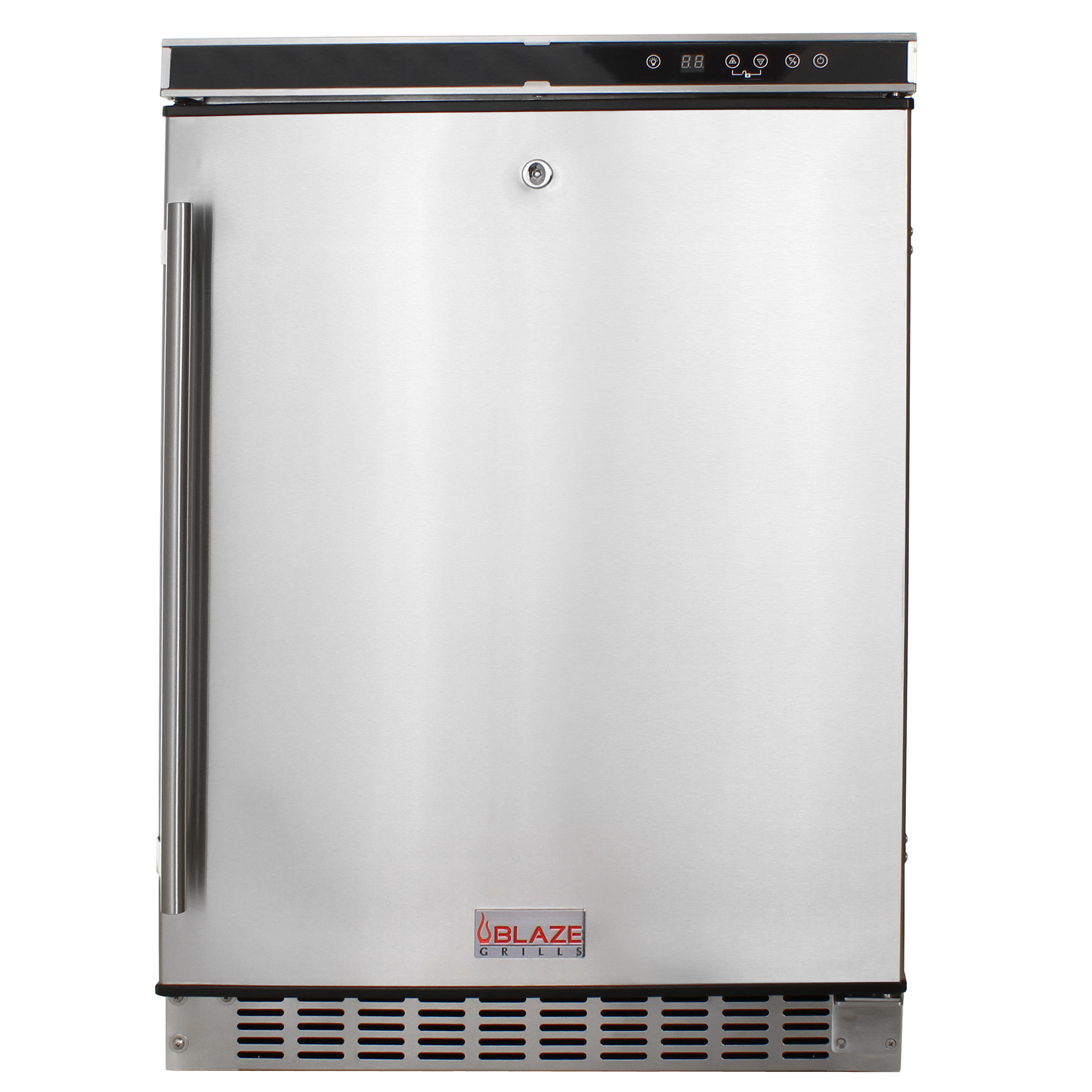 The Blaze outdoor rated refrigerator can't be left off the list. This refrigerator is a great refrigerator that has a solid 1 year warranty. It features a digital thermostat and lock. This is the cheapest of the 5 in the list, but we rarely have issues with the performance.