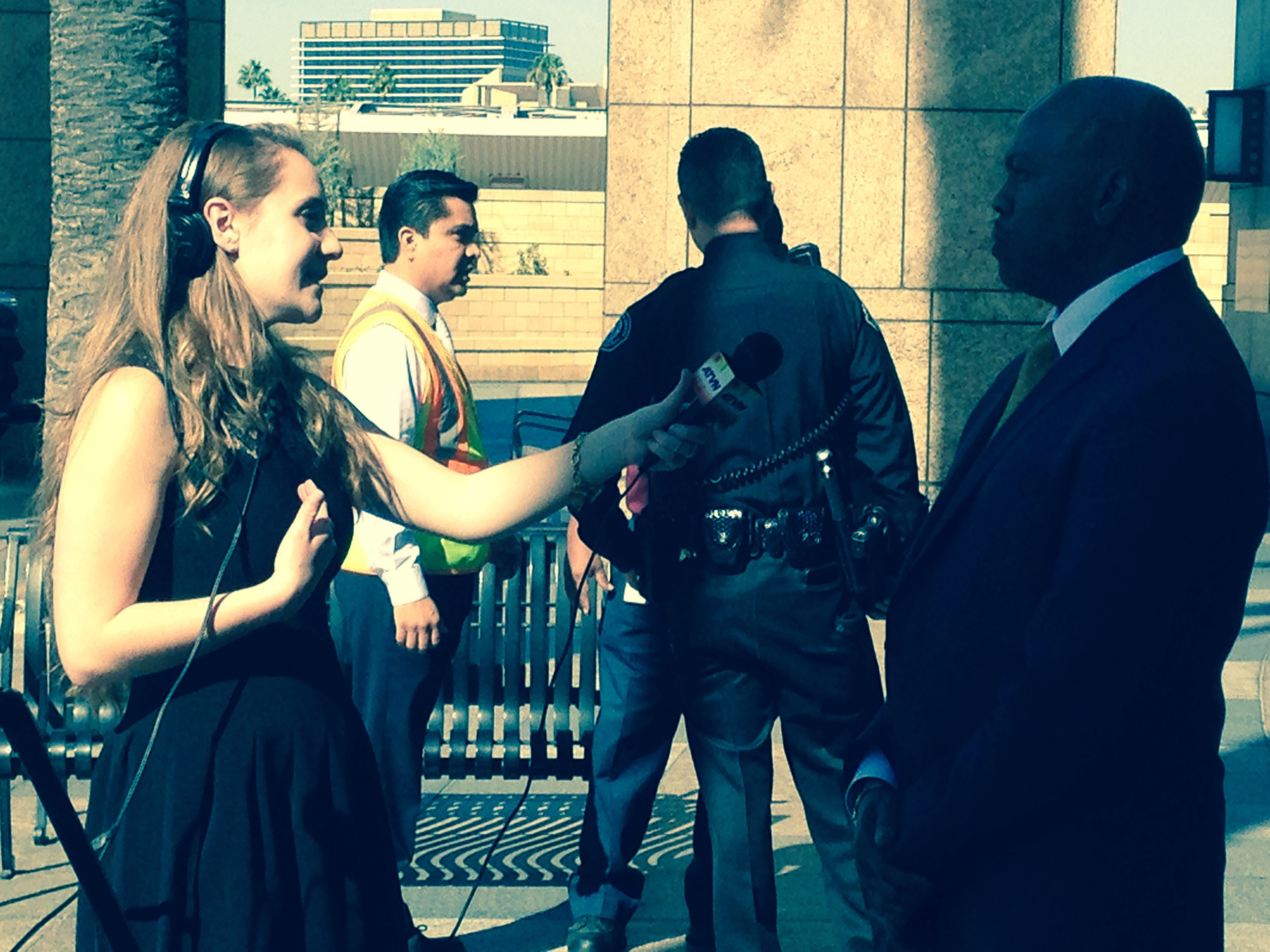Phil Washington answers questions from USC Journalism Student Abby Flaxer.