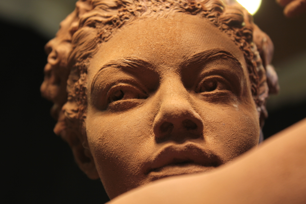 Detail of Jess in clay