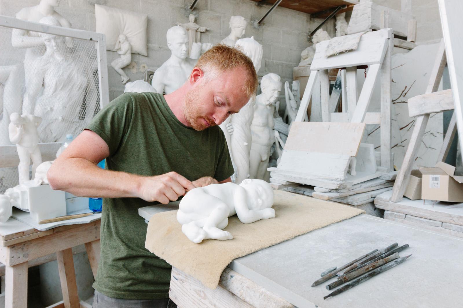 Hakon Anton Fageras in the marble studio, Pietrasanta. Photo Credit: Simon DesRochers
