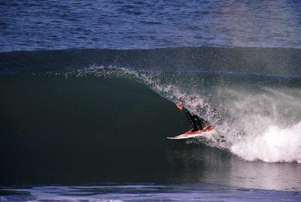 Dion in a barrel at Ocean Beach San Francisco. Photo: Paul Ferraris.