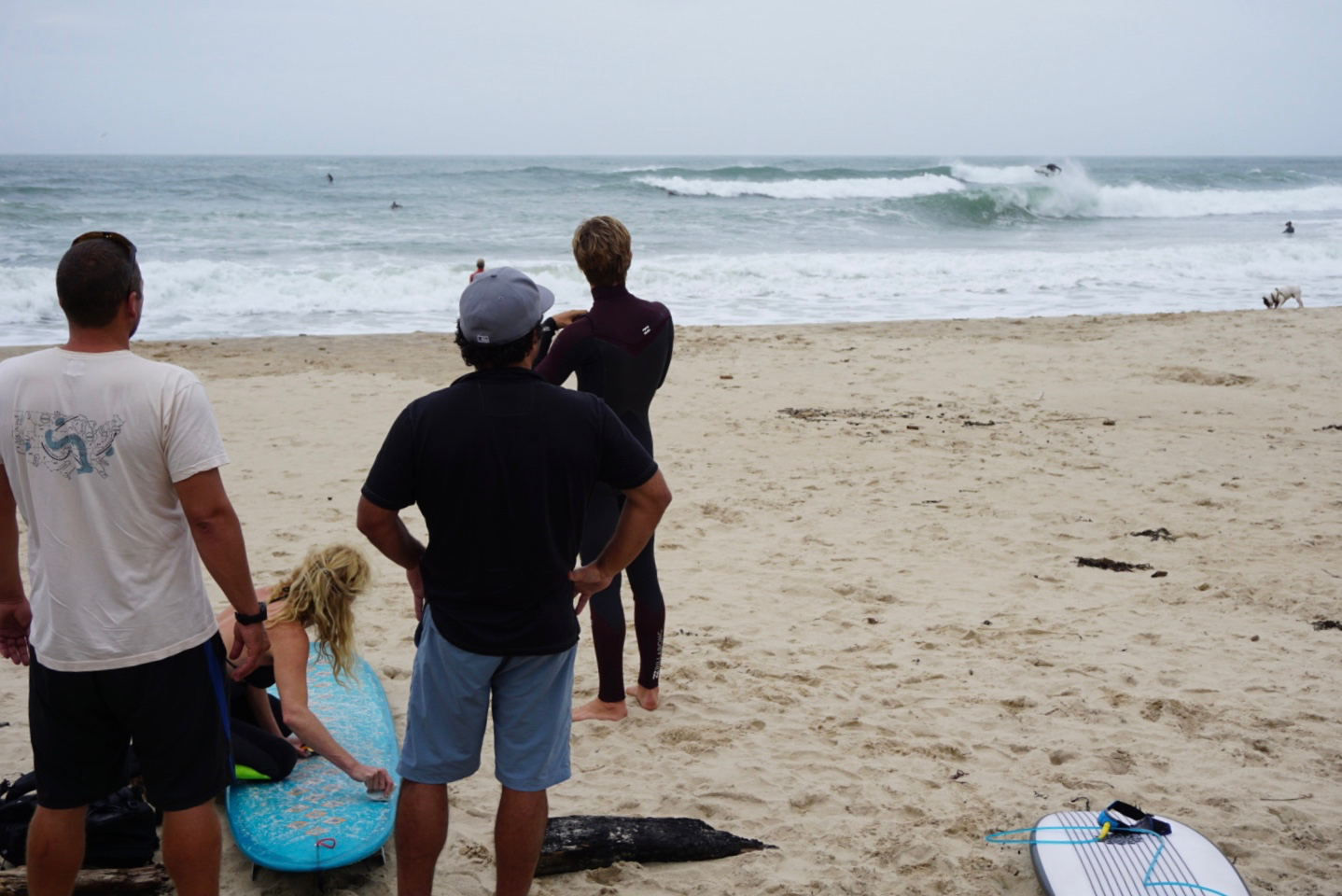 Andrew, Jo, Paul, and Chito check out a high flying local in Montauk, Hermine Day 4.