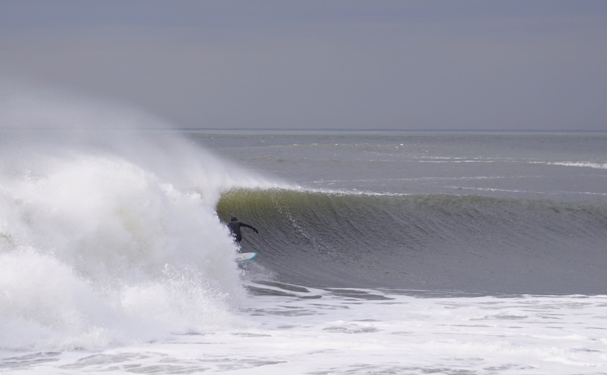Me, Dion Mattison, on a Rockaway screamer last February in a hooded 5/4, 7mm gloves and boots. Pic: JP Phillips