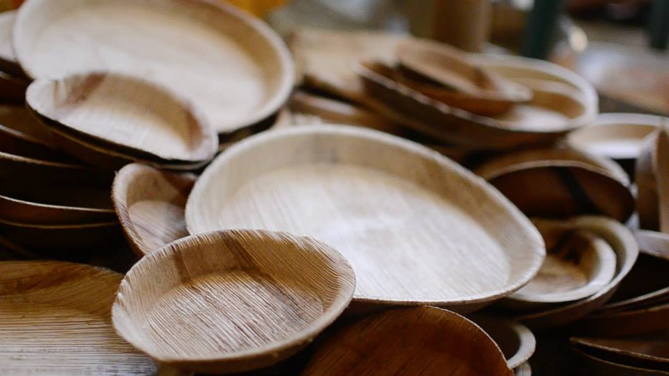 Recently pressed arecanut leaf plates produced by the Das family at their production unit in Patla Village, Assam.