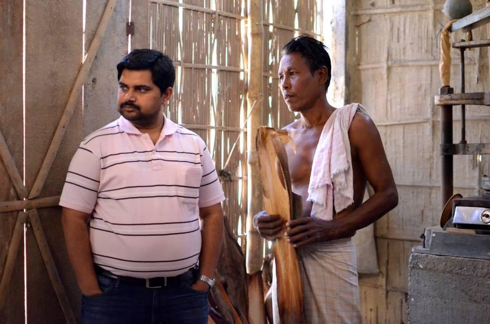 Tamul Plates CEO Arindam Dasgupta (L) and Tamul Plates Affiliate Producer Dwijen Das (R) discuss plate production at the Das family production unit in Patla Village, Assam.