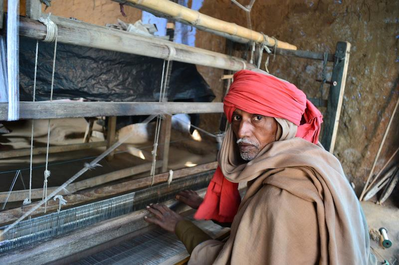 A silk weaver at his loom in Bhagalpur. January 2013.