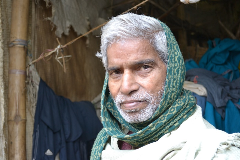 Bindu, one of Eco Kargha's weavers, is respected by his neighbors and has strong opinions on the development that is needed in his slum. January 2013.