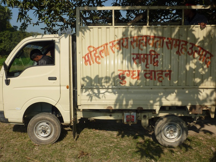 A Samridhi delivery truck at a central milk collection facility. January 2012.