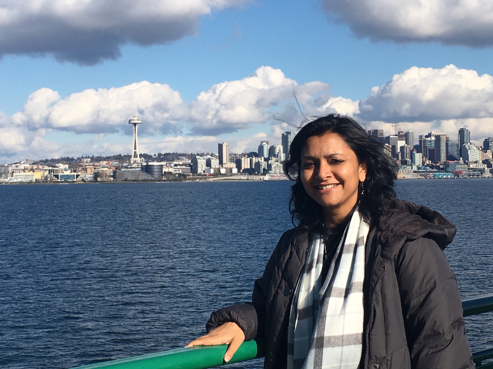 """Mansi on the ferry in Seattle, WA during visit as """"Entrepreneur in Residence"""" at Seattle University."""